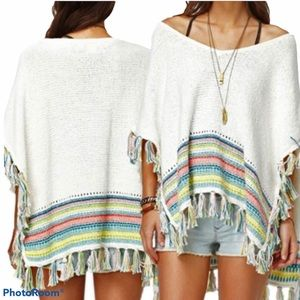 ROXY Knit Frayed Poncho
